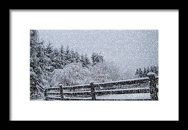 Snow Prints Framed Print featuring the photograph Snowstorm Coming by Beverly Guilliams