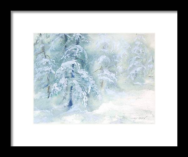 Snow Framed Print featuring the painting Snowstorm by Joy Nichols
