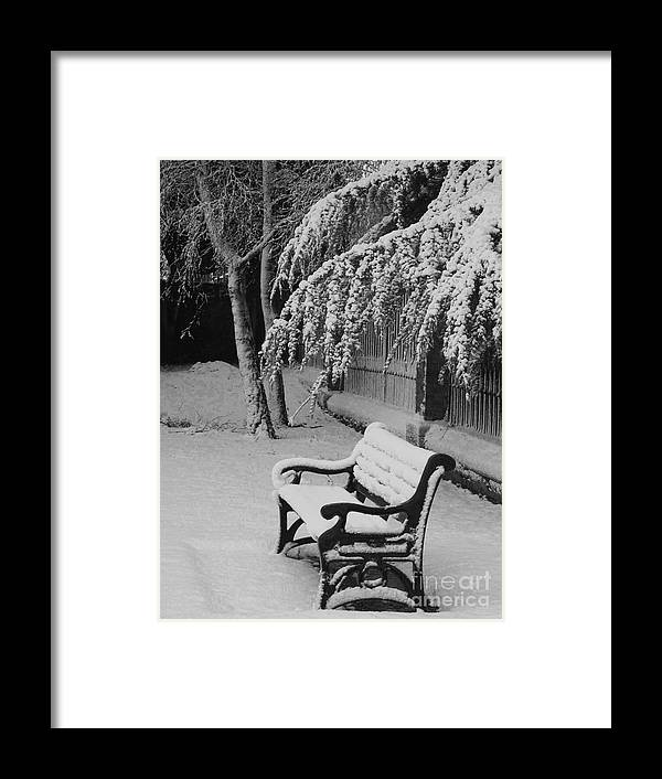 Winter Scene Framed Print featuring the photograph Snowy Bench by Heather Gordon