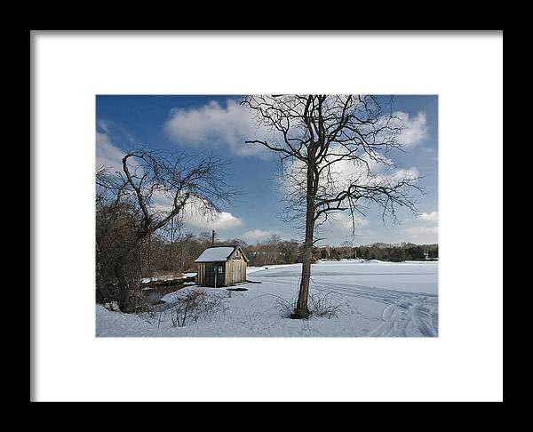 Bog Framed Print featuring the photograph Snowy Bog House by David DeCenzo