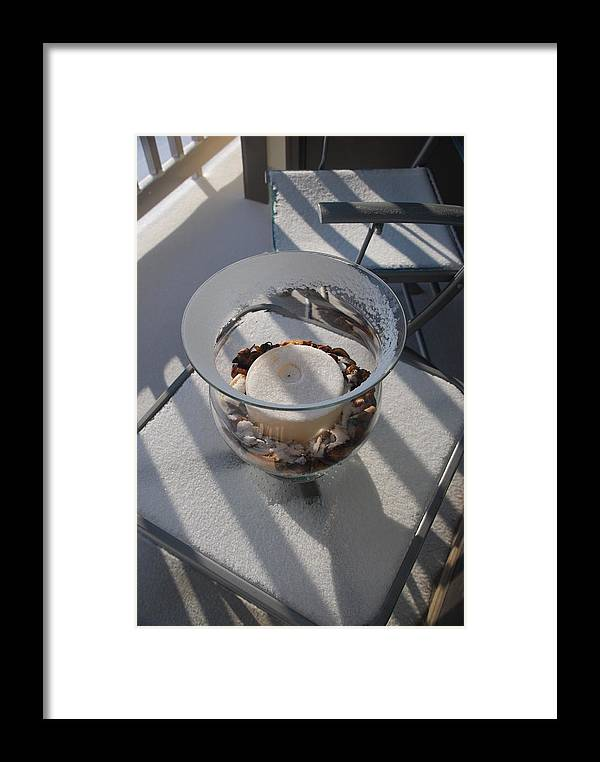 Framed Print featuring the photograph Snowy Candle by Eric Armstrong