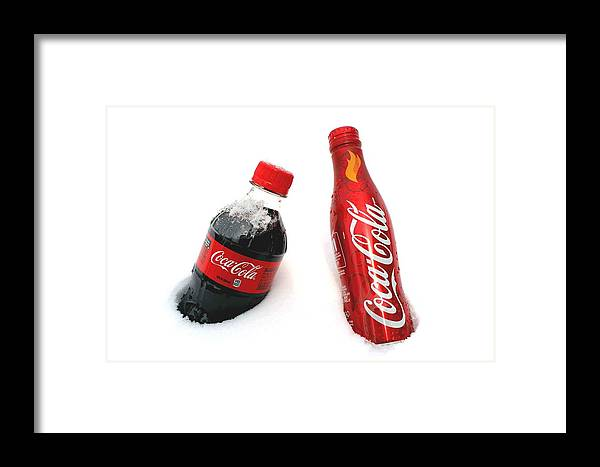 Snow Framed Print featuring the photograph Snowy Coca - Cola by Fiona Kennard