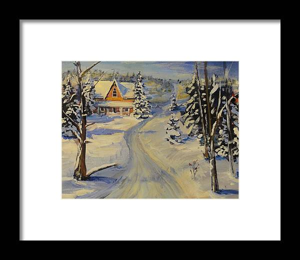 Snow Framed Print featuring the painting Snowy Country Road by Brent Arlitt