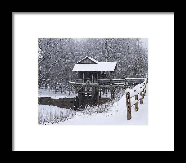 New Salem Framed Print featuring the photograph New Salem Grist Mill In The Snow Clr by Eric Mace