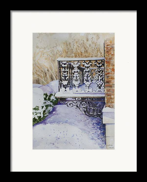 Snow Scene Framed Print featuring the painting Snowy Ironwork by Patsy Sharpe