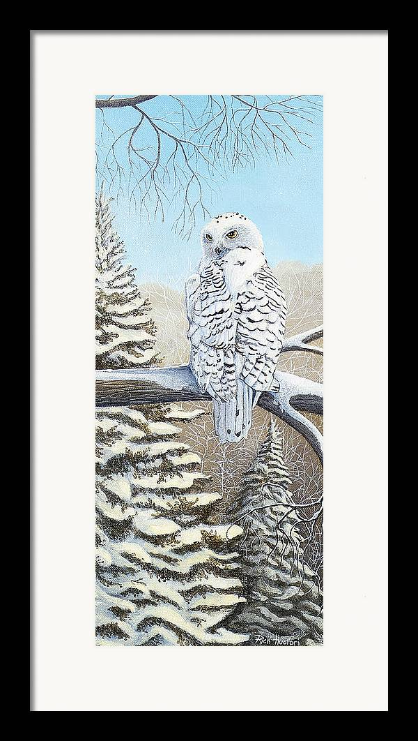 Rick Huotari Framed Print featuring the painting Snowy Owl by Rick Huotari