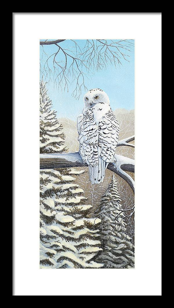 Rick Huotari Framed Print featuring the painting Snowy Owl by Rick Huotari