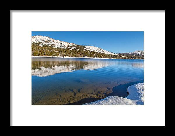 Landscape Framed Print featuring the photograph Snowy Shoreline by Marc Crumpler