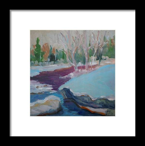 Oil Painting Framed Print featuring the painting Snowy Stream by Francine Frank