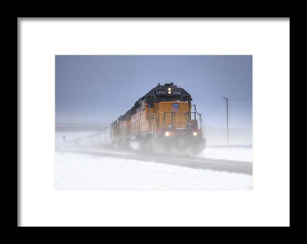 Union Pacific Framed Print featuring the photograph Snowy Train by Kris Franklin