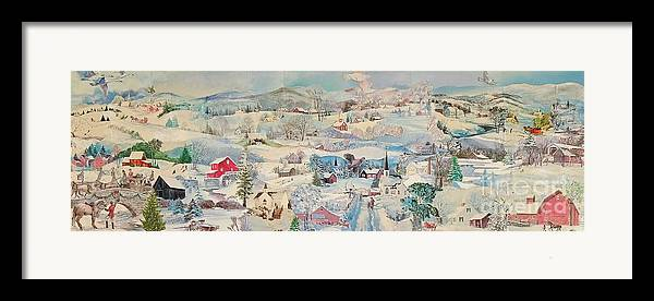 Snow Framed Print featuring the mixed media Snowy Village - Sold by Judith Espinoza