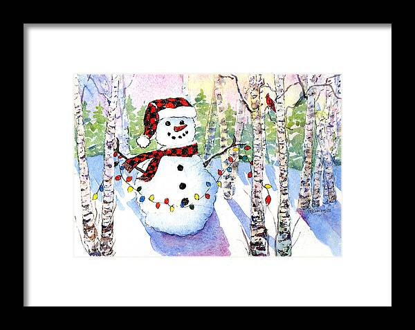 Snowman Framed Print featuring the painting Snowy Wishes by Mary Giacomini