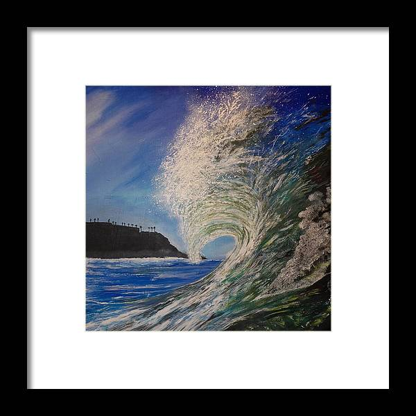Waves Framed Print featuring the painting So Cal Wave by Jim Reale