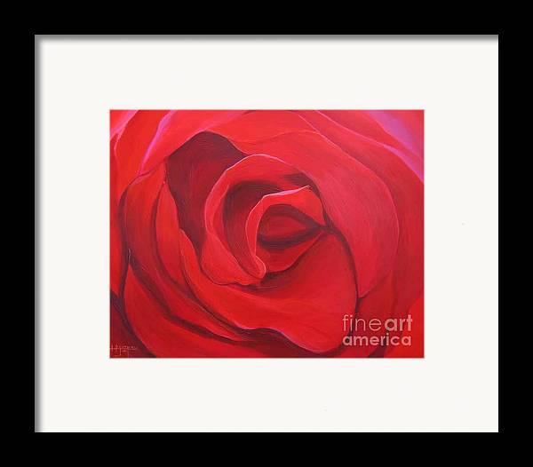 Rose In The Italian Countryside Framed Print featuring the painting So Red The Rose by Hunter Jay