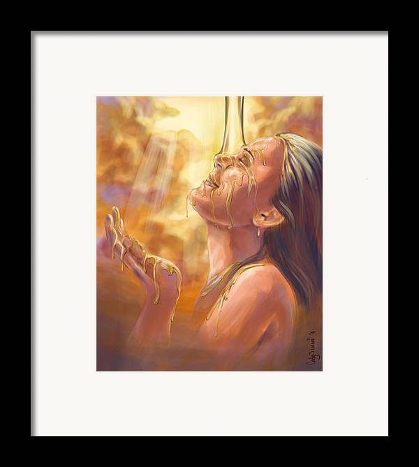 Prophetic Painting Framed Print featuring the digital art Soaking In Glory by Tamer and Cindy Elsharouni