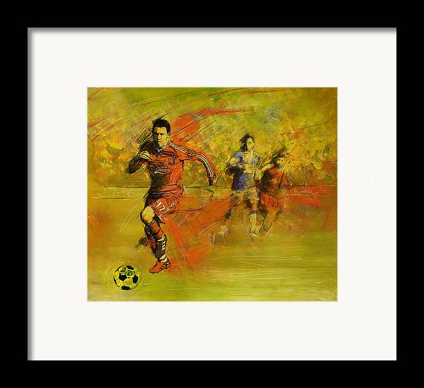 Sports Framed Print featuring the painting Soccer by Corporate Art Task Force