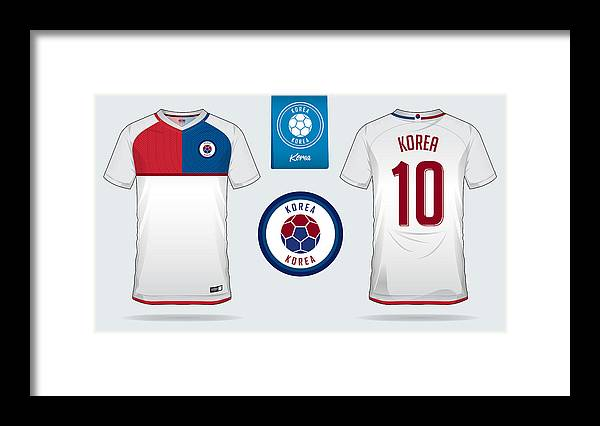 18bbcf06493 Soccer Uniform Framed Print featuring the drawing Soccer Jersey Or Football  Kit Template Design For South