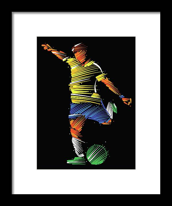 Goal Framed Print featuring the digital art Soccer Player Running To Kick The Ball by Dimitrius Ramos