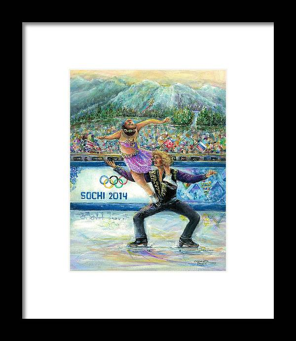Sochi Framed Print featuring the painting Sochi 2014 - Ice Dancing by Bernadette Krupa