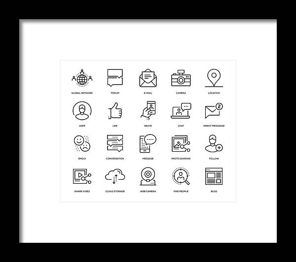 People Framed Print featuring the drawing Social Media Icon Set by Enis Aksoy