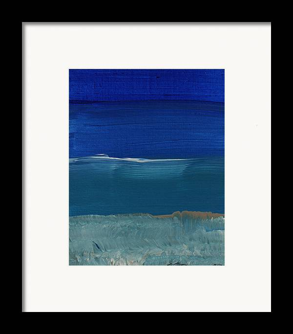 Abstract Art Framed Print featuring the painting Soft Crashing Waves- Abstract Landscape by Linda Woods
