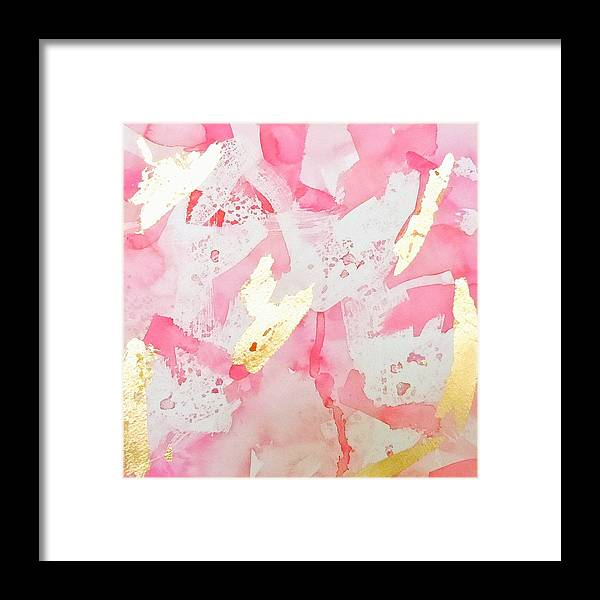 Romantic Abstract Framed Print featuring the painting Softly Pink by Roleen Senic