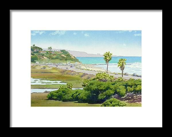 Solana Beach Framed Print featuring the painting Solana Beach California by Mary Helmreich