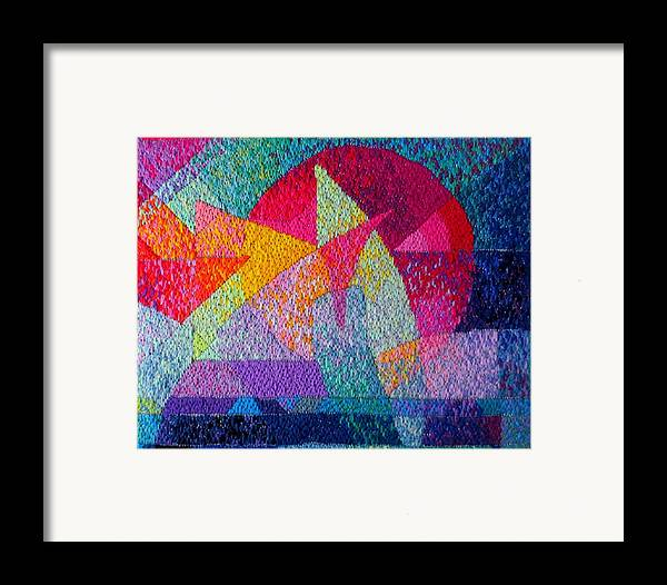 Abstract Expressionist Needlepoint Framed Print featuring the tapestry - textile Solar Tapestry by Diane Fine
