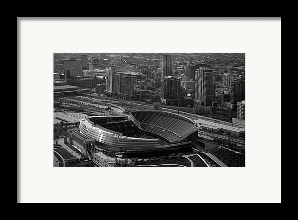 Chicago Framed Print featuring the photograph Soldier Field Chicago Sports 05 Black And White by Thomas Woolworth