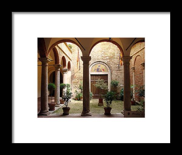 Church Framed Print featuring the photograph Solemn Tuscan Courtyard by Mark Janeck
