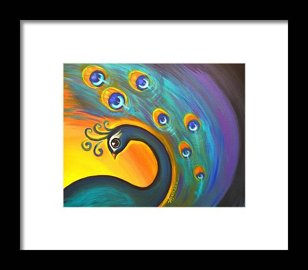 Peacock Framed Print featuring the painting Solo Dance Vortex by Agata Lindquist
