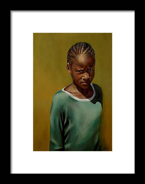 African Girl Framed Print featuring the painting Somebody's Sister by Jolante Hesse