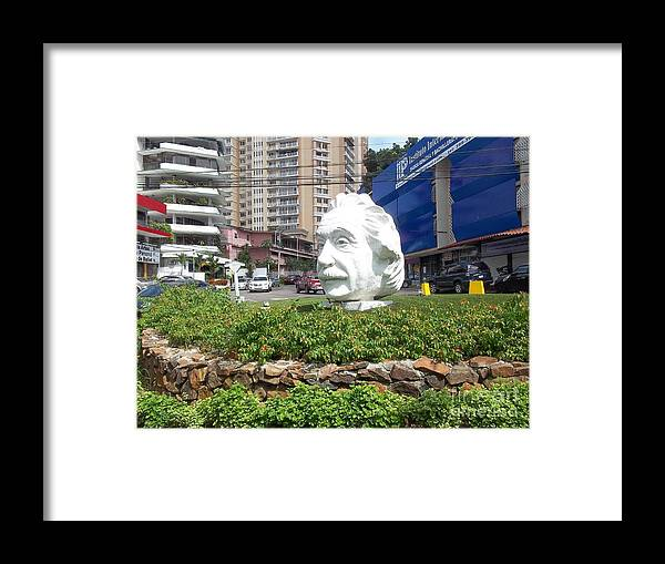 Albert Einstein Framed Print featuring the photograph Cables And One Head by Vladimir Berrio Lemm
