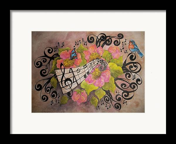 Music Framed Print featuring the painting Song Of My Heart And Soul by Meldra Driscoll
