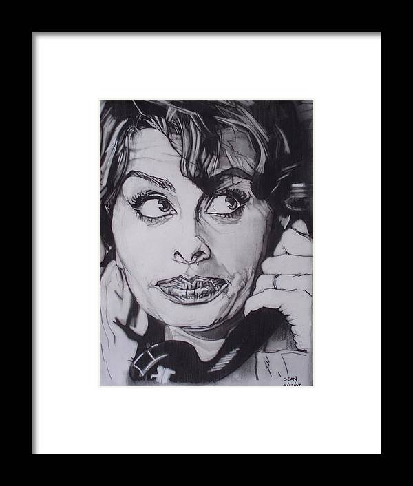 Charcoal;icon;actress;diva;italian;cat Eyes;beautiful;cute;adorable Framed Print featuring the drawing Sophia Loren Telephones by Sean Connolly