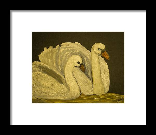 Pair Of Swans Framed Print featuring the painting Soul Mates by Kerri Mahan