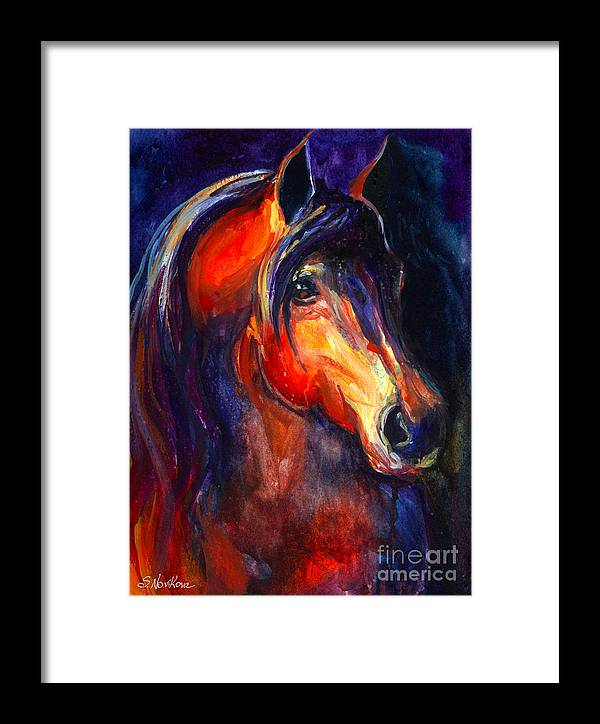 Arabian Horse Framed Print featuring the painting Soulful Horse Painting by Svetlana Novikova