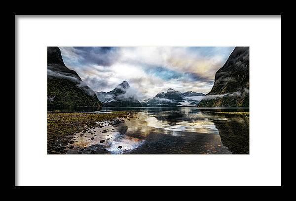 Scenics Framed Print featuring the photograph Sound Asleep | Fiordland, New Zealand by Copyright Lorenzo Montezemolo