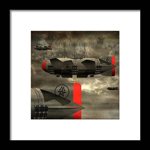 Airship Framed Print featuring the digital art Sound Zeppelins by Milton Thompson