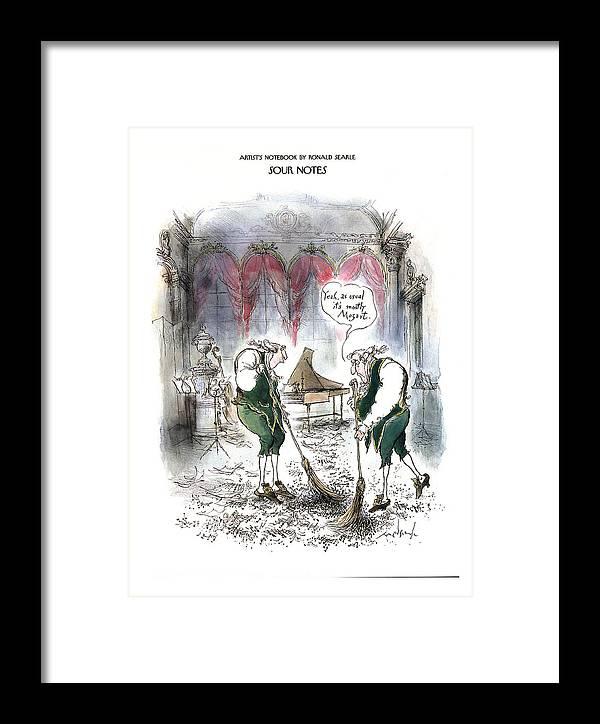 Sour Notes 'yeah Framed Print featuring the drawing Sour Notes 'yeah by Ronald Searle