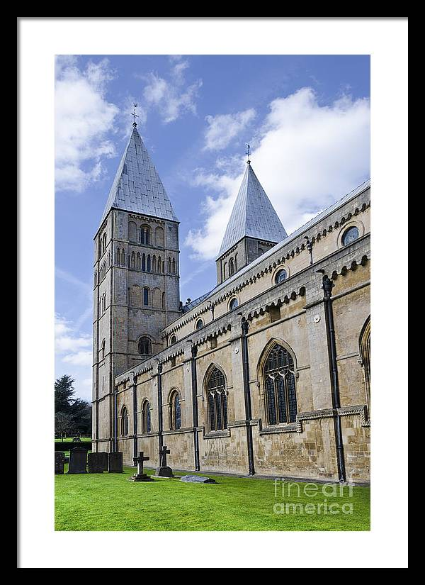 Southwell Minster Framed Print featuring the photograph South face of Southwell Minster by Steev Stamford