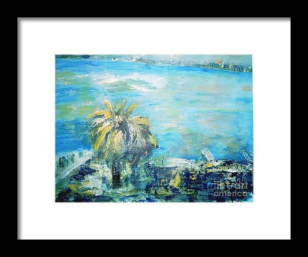Seascape Framed Print featuring the painting South Of France  Juan Les Pins by Fereshteh Stoecklein