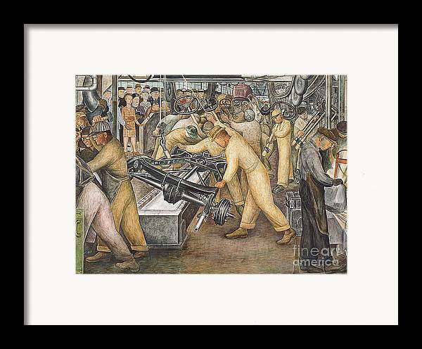 Machinery Framed Print featuring the painting South Wall Of A Mural Depicting Detroit Industry by Diego Rivera