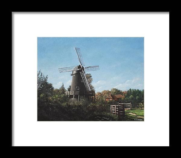 Windmill Framed Print featuring the painting Southampton Bursledon Windmill by Martin Davey