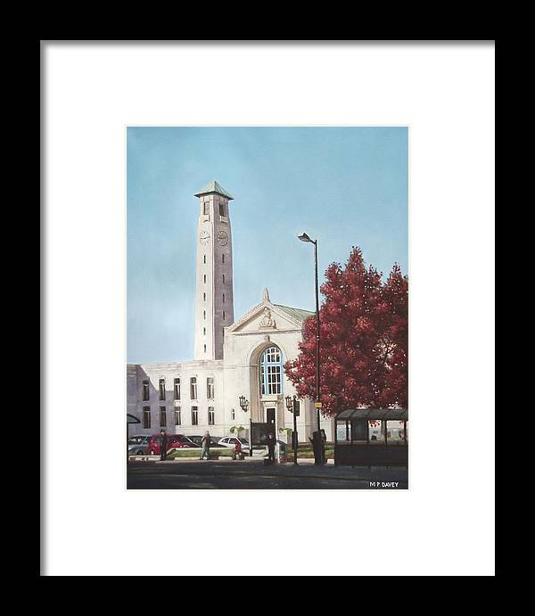 Southampton Framed Print featuring the painting Southampton Civic Center Public Building by Martin Davey