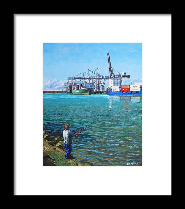 Docks Framed Print featuring the painting Southampton Western Docks Container Terminal As Seen From Marchwood by Martin Davey