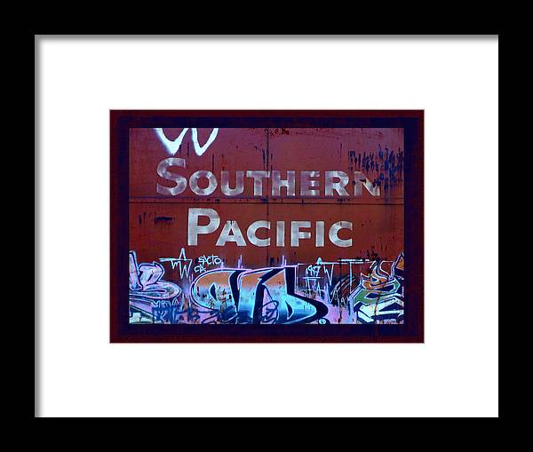 Tag Art Framed Print featuring the photograph Southern Pacific by Donna Blackhall