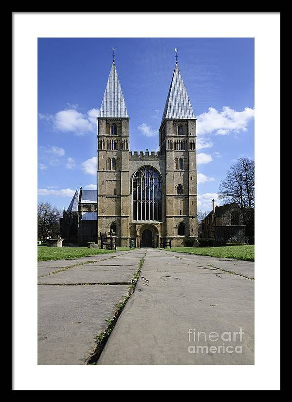 Southwell Minster Framed Print featuring the photograph Southwell Minster - road to salvation by Steev Stamford