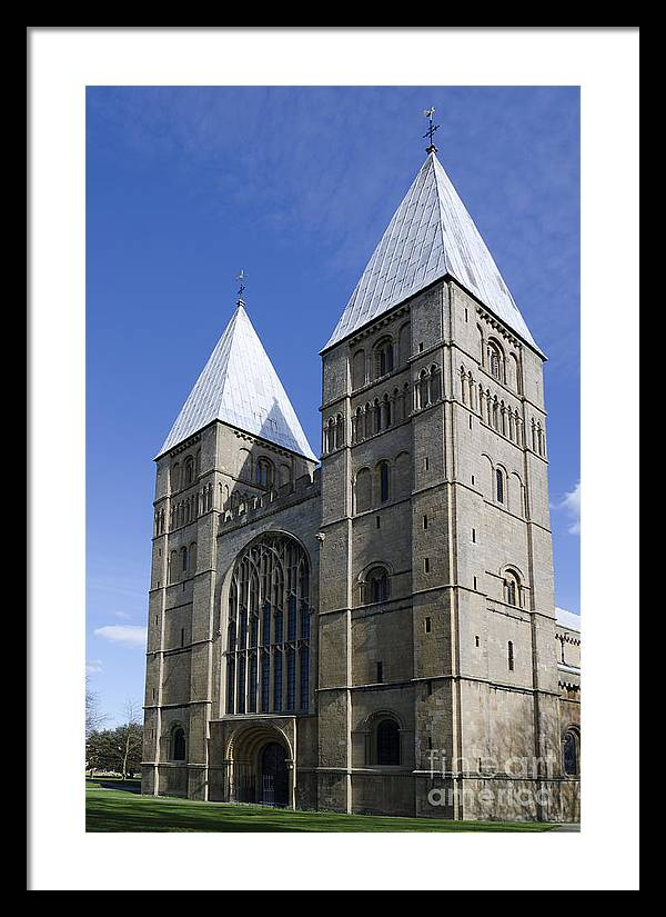 Southwell Minster Framed Print featuring the photograph Southwell Minster - south west by Steev Stamford
