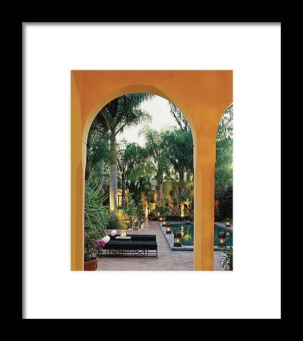 No People Framed Print featuring the photograph Spa Beds At Poolside by Scott Frances